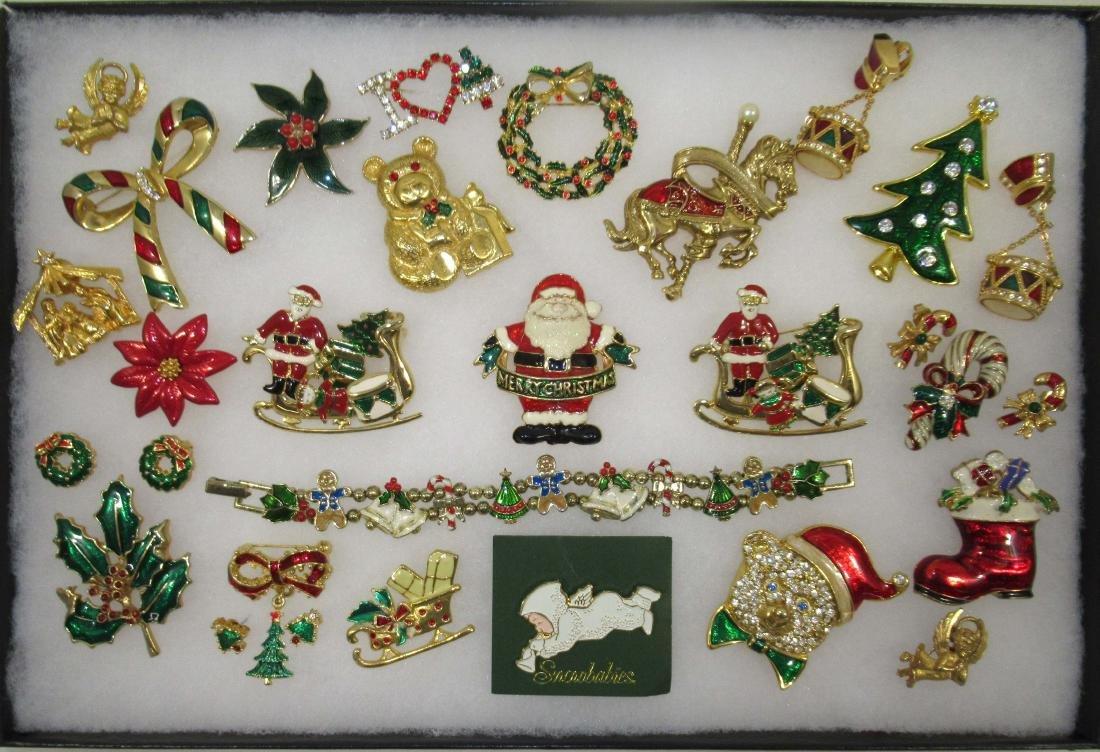 Nice! Enameled Christmas Jewelry 25pc