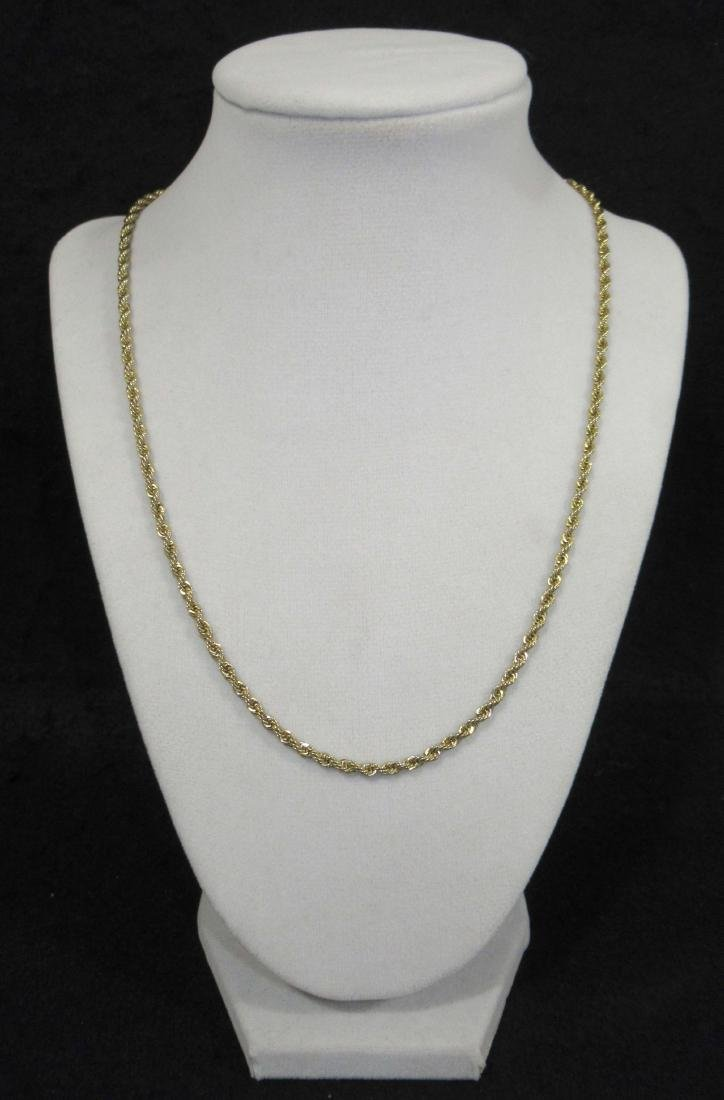 14Kt Italy Gold Rope Necklace 12.5g