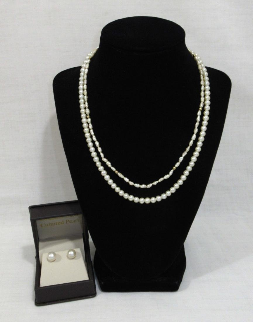 2 Genuine Pearl Neck's 10 & 14kt Clasp-14kt Pearl