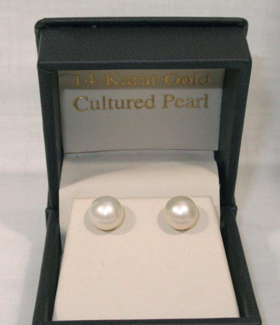 2 Genuine Pearl Neck's 10 & 14kt Clasp-14kt Pearl - 2