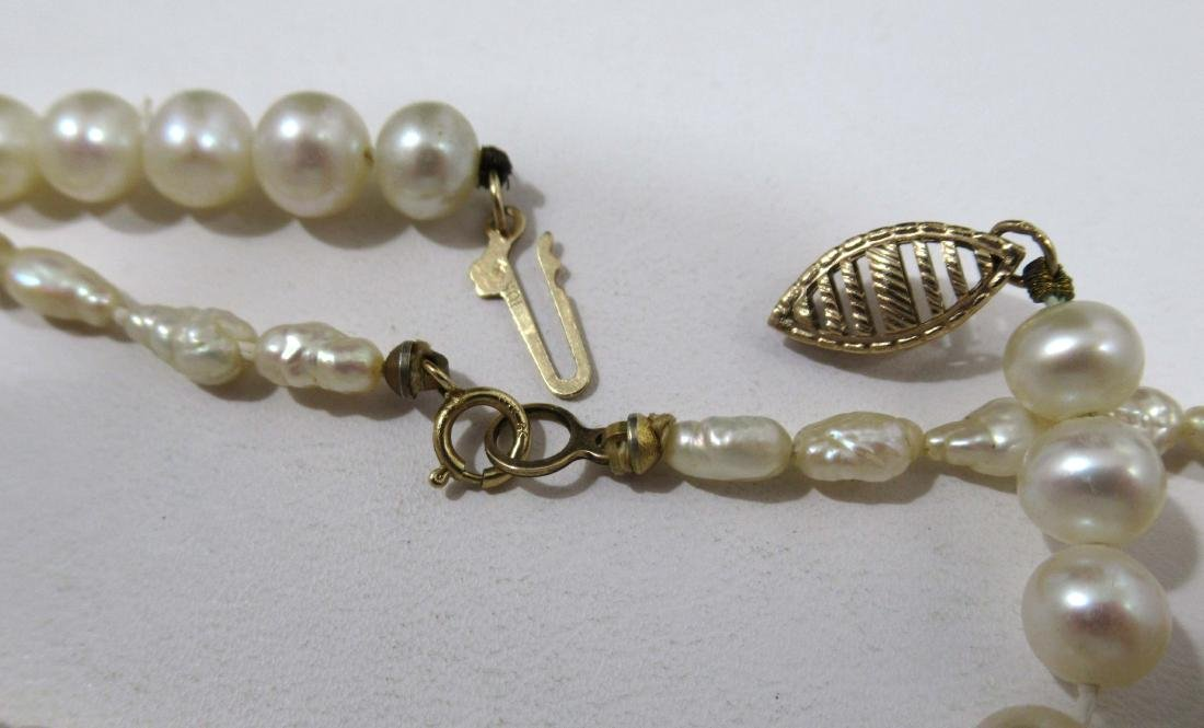 2 Genuine Pearl Neck's 10 & 14kt Clasp-14kt Pearl - 4