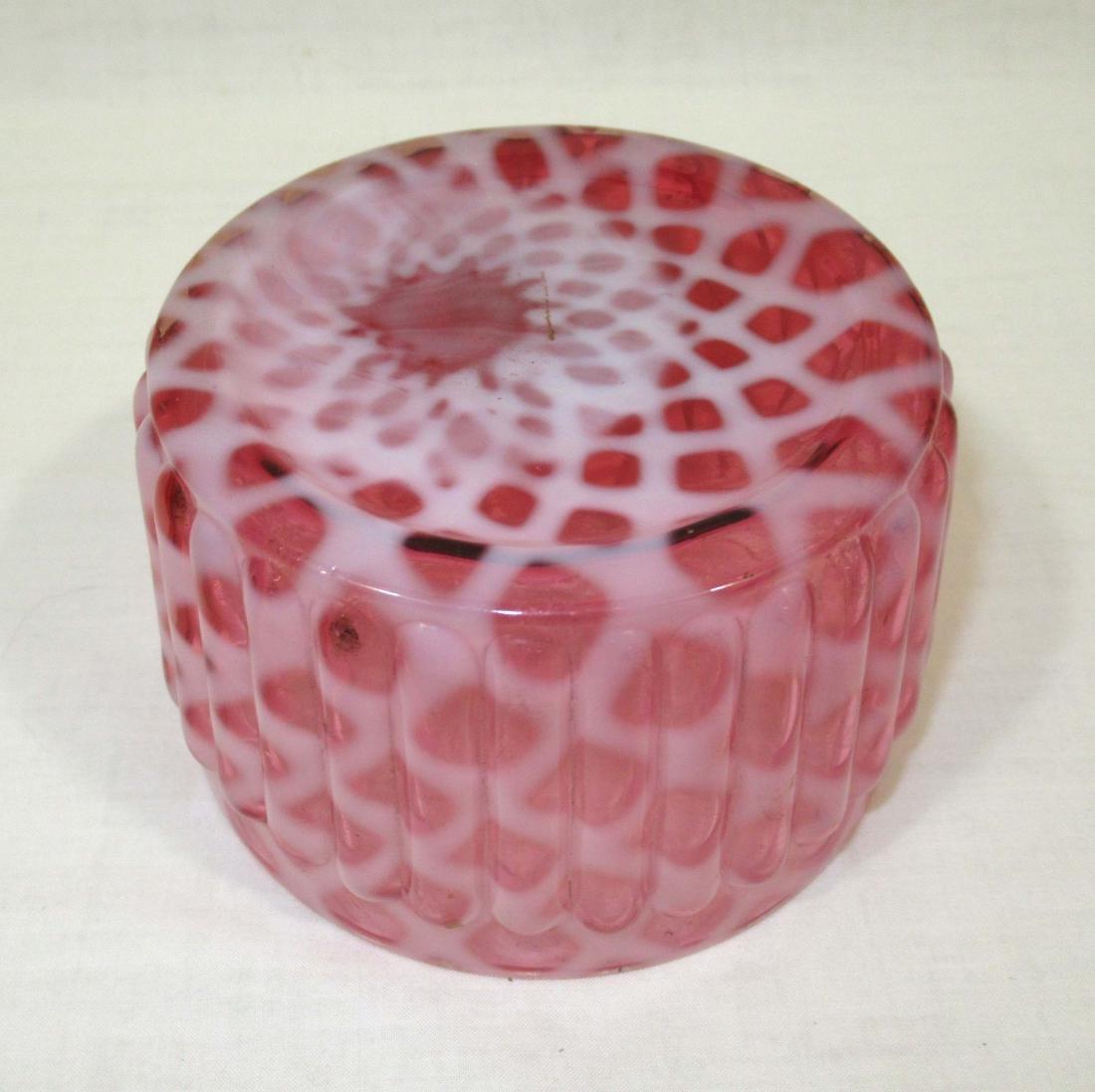 Cranberry Lattice Opalescent Vict. Bowl - 2