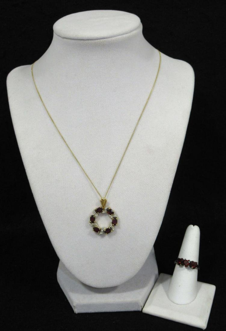Pretty Sterling & Garnet Necklace & Ring