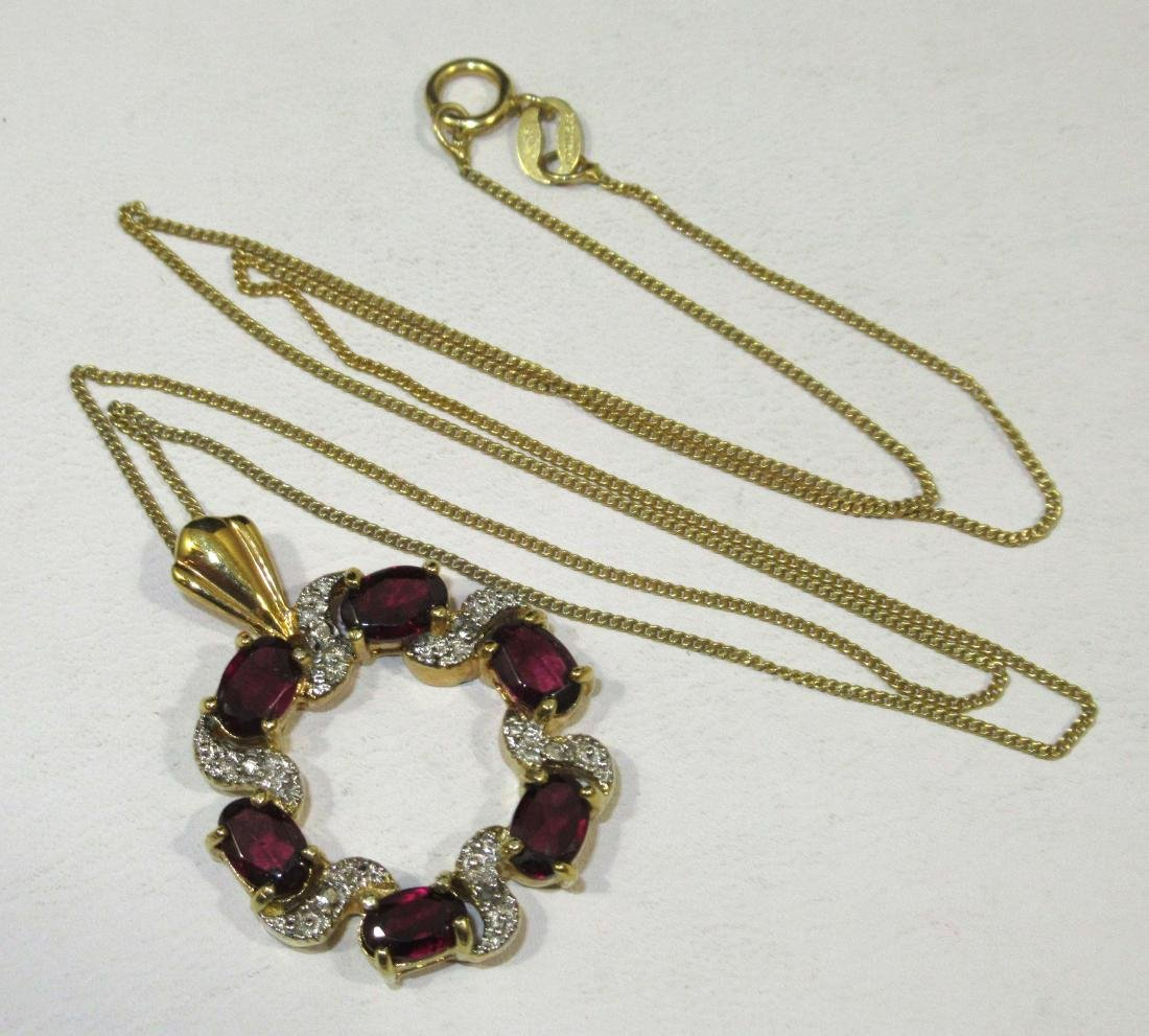 Pretty Sterling & Garnet Necklace & Ring - 2