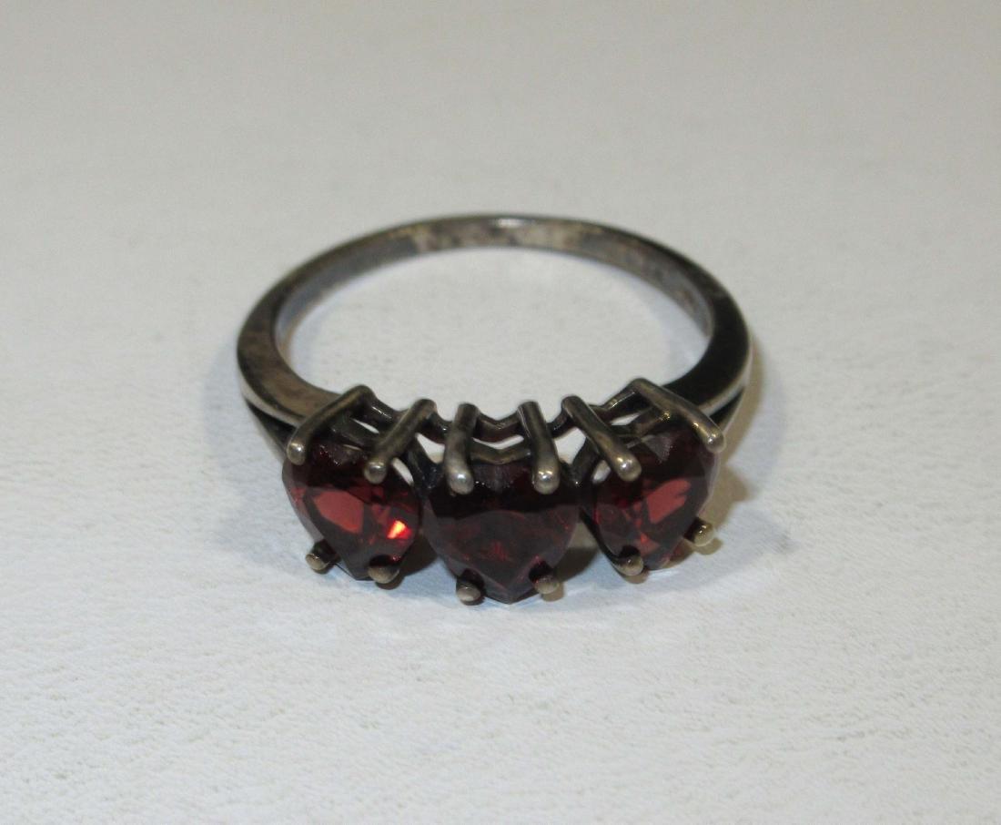 Pretty Sterling & Garnet Necklace & Ring - 4