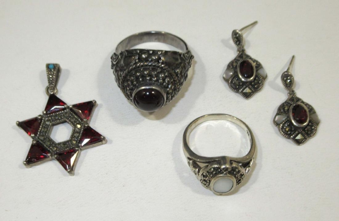 4pc. Marcasite & Garnet Jewelry
