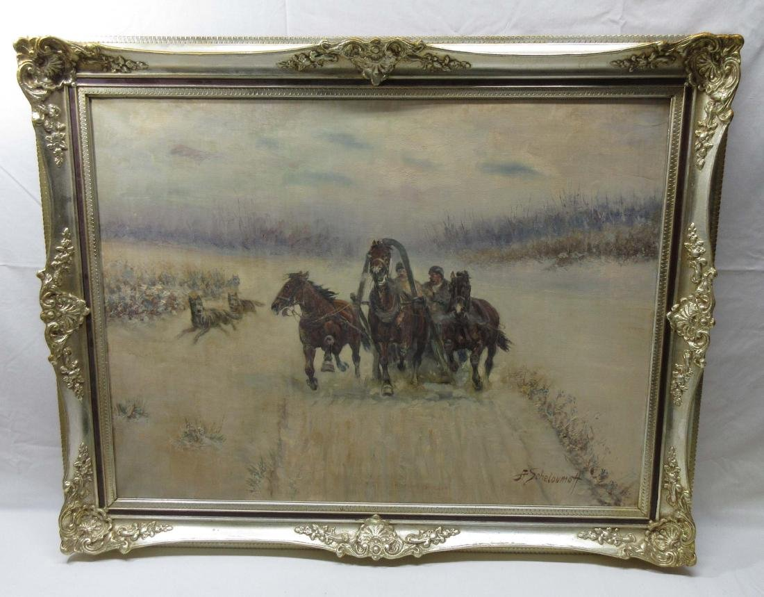 O/C Russian Troika Painting Sgnd A. Scheloumoff