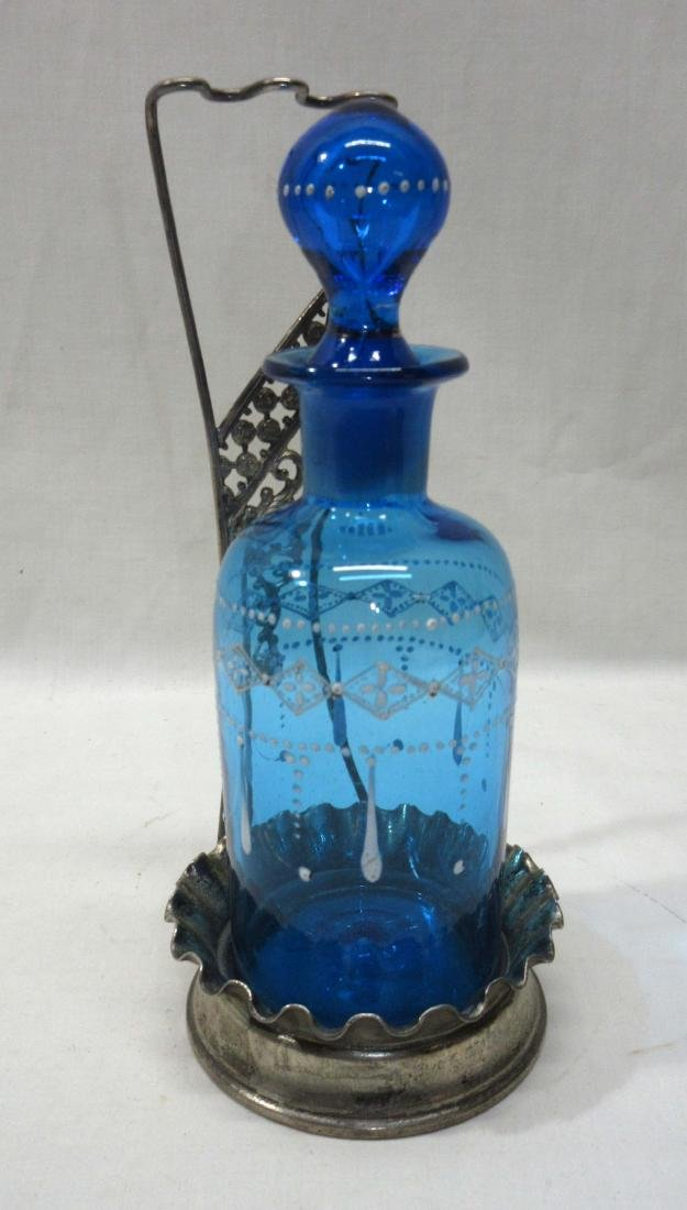 Enameled Blue Cologne Bottle w/ Metal Frame
