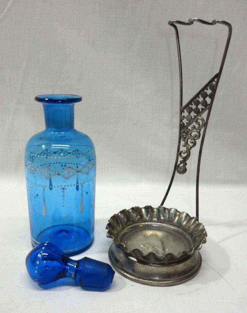 Enameled Blue Cologne Bottle w/ Metal Frame - 2