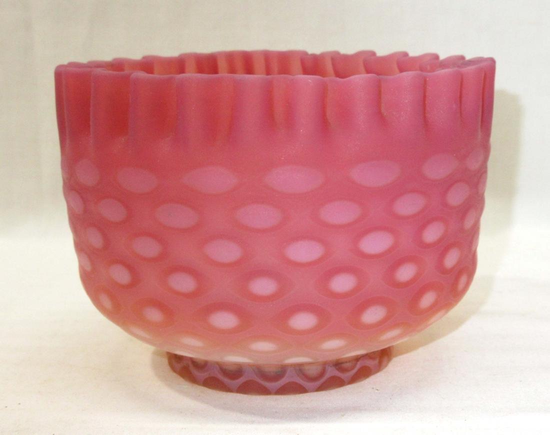 Ruffled Cranberry Opal Coinspot Bowl