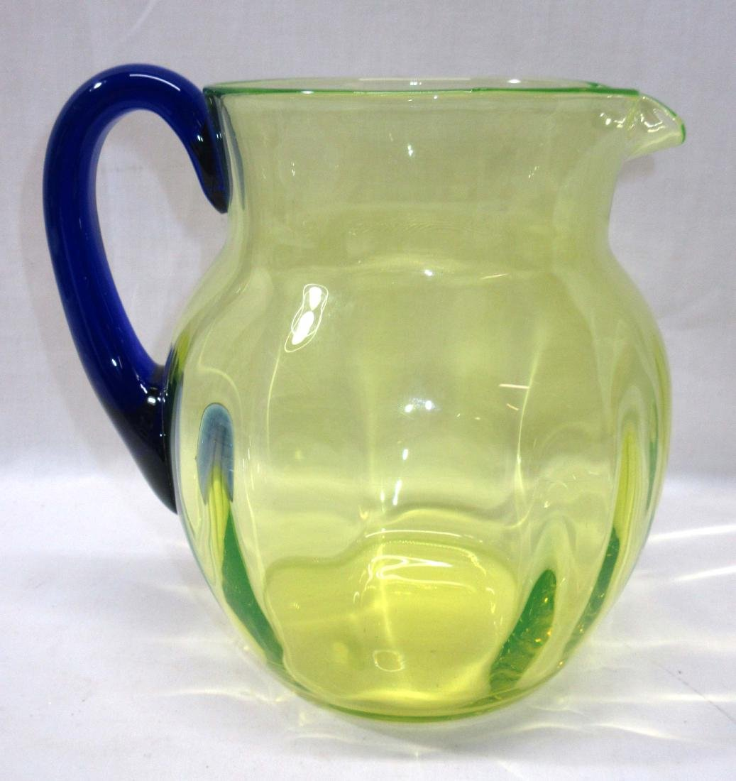 Vaseline Glass Water Pitcher w/ App. Blue Handle