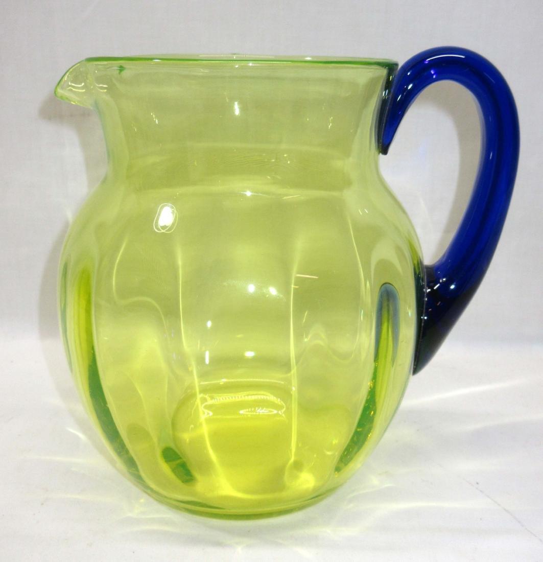 Vaseline Glass Water Pitcher w/ App. Blue Handle - 2