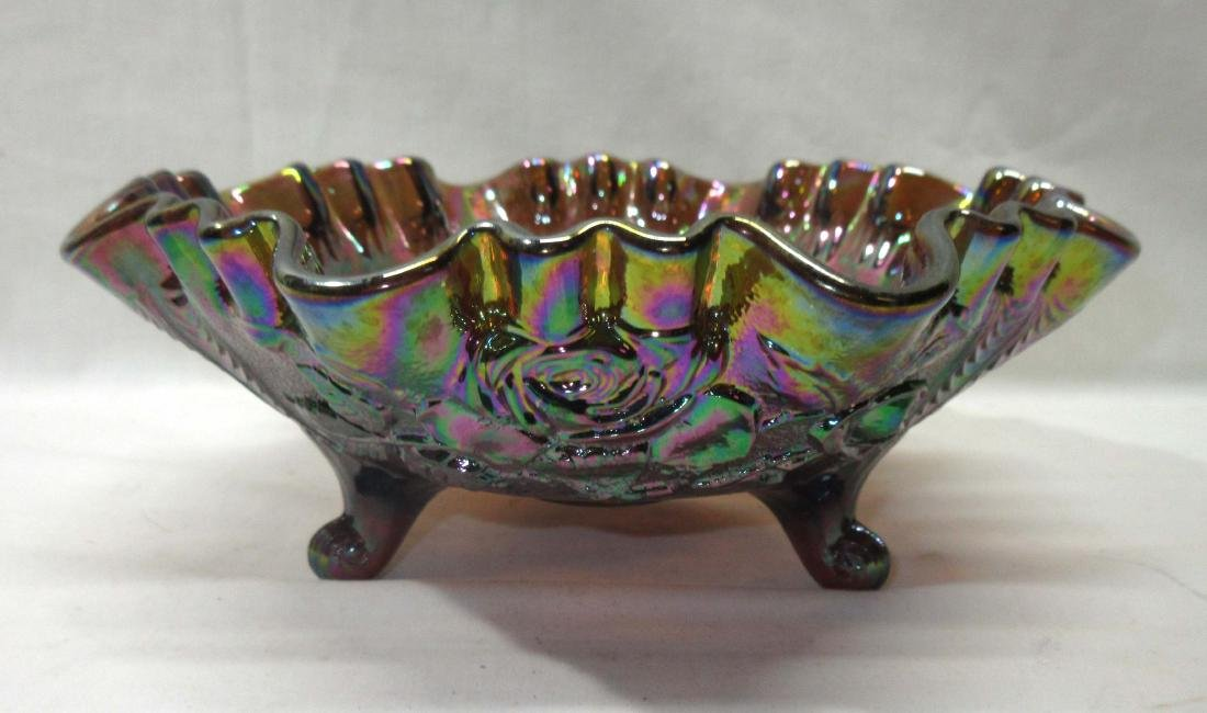 Carnival Glass Footed Bowl, Roses - 2