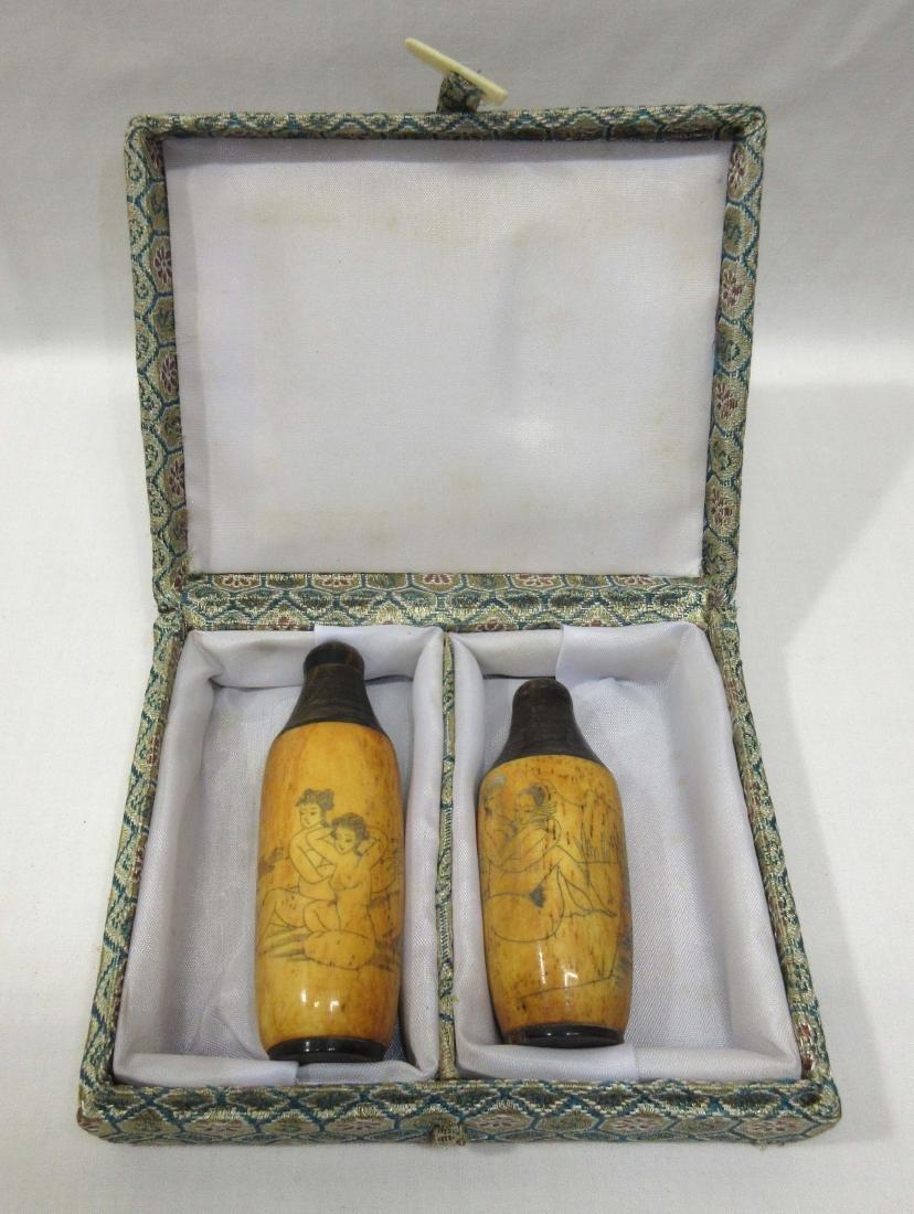 2 Oriental Erotic Snuff Bottles