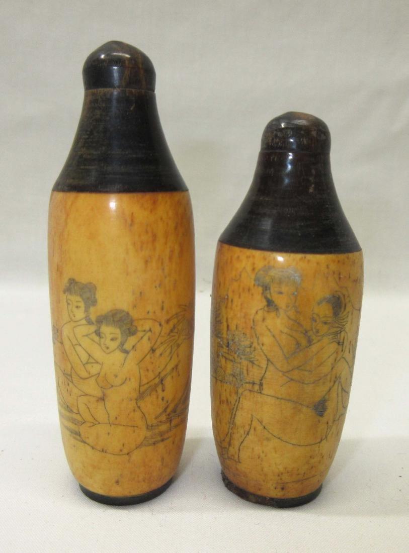 2 Oriental Erotic Snuff Bottles - 2
