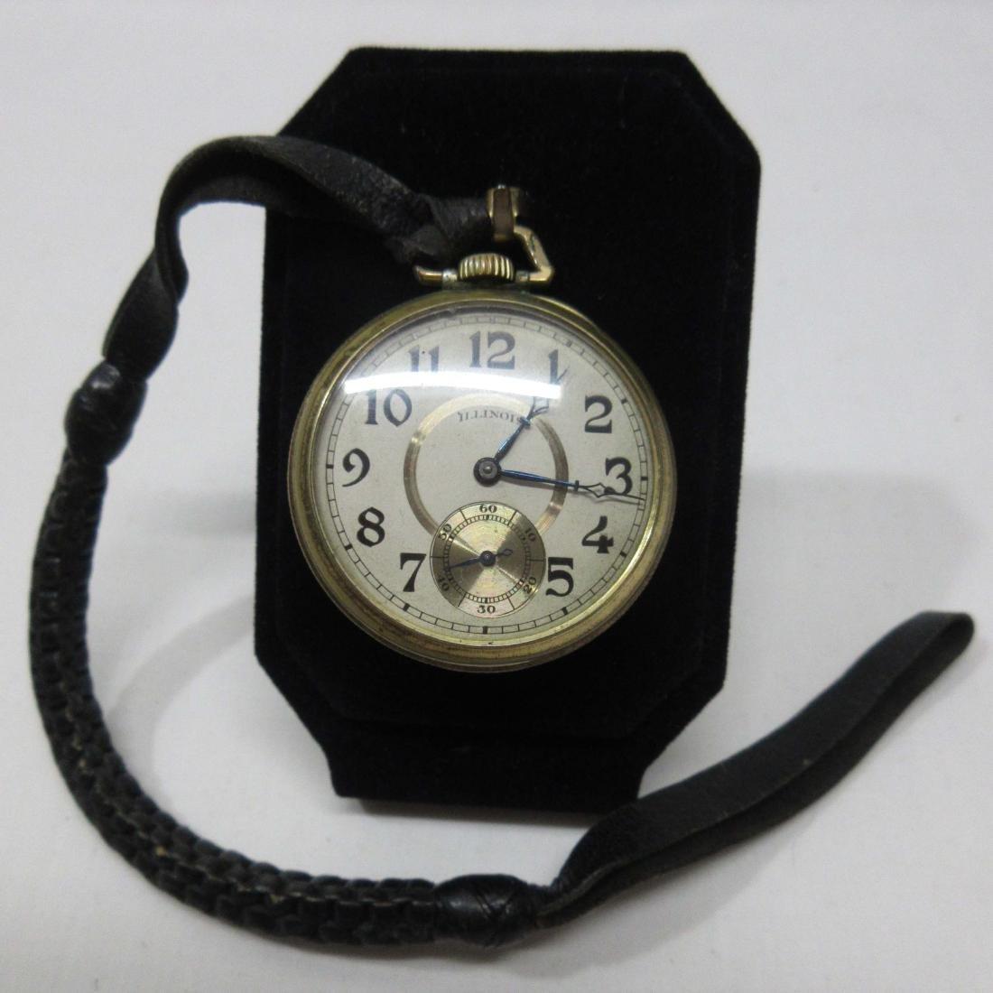 Illinois Pocket Watch w/ Leather Fob