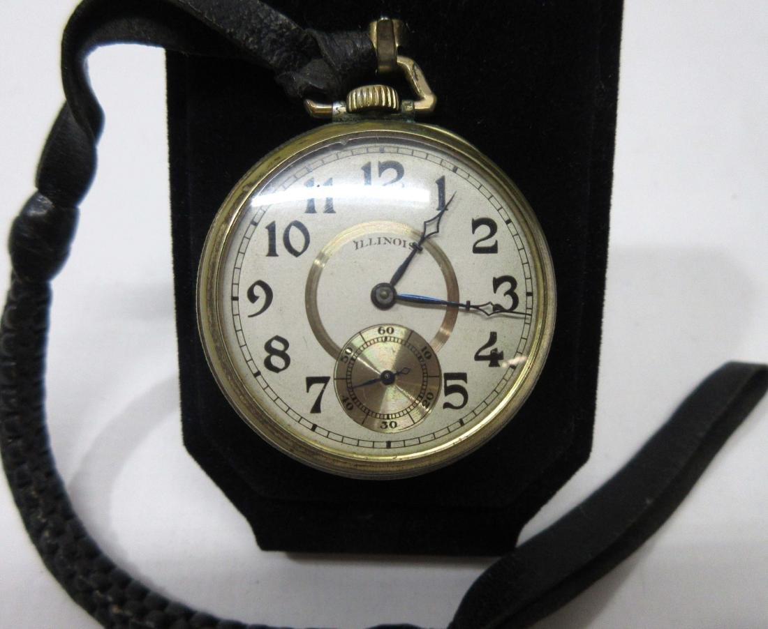 Illinois Pocket Watch w/ Leather Fob - 2