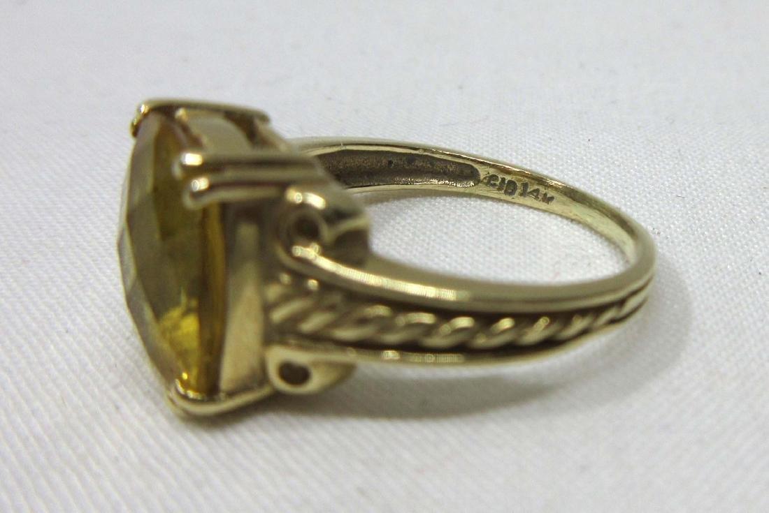14K Gold Citrine Ring Sz 5, 2.8g - 3