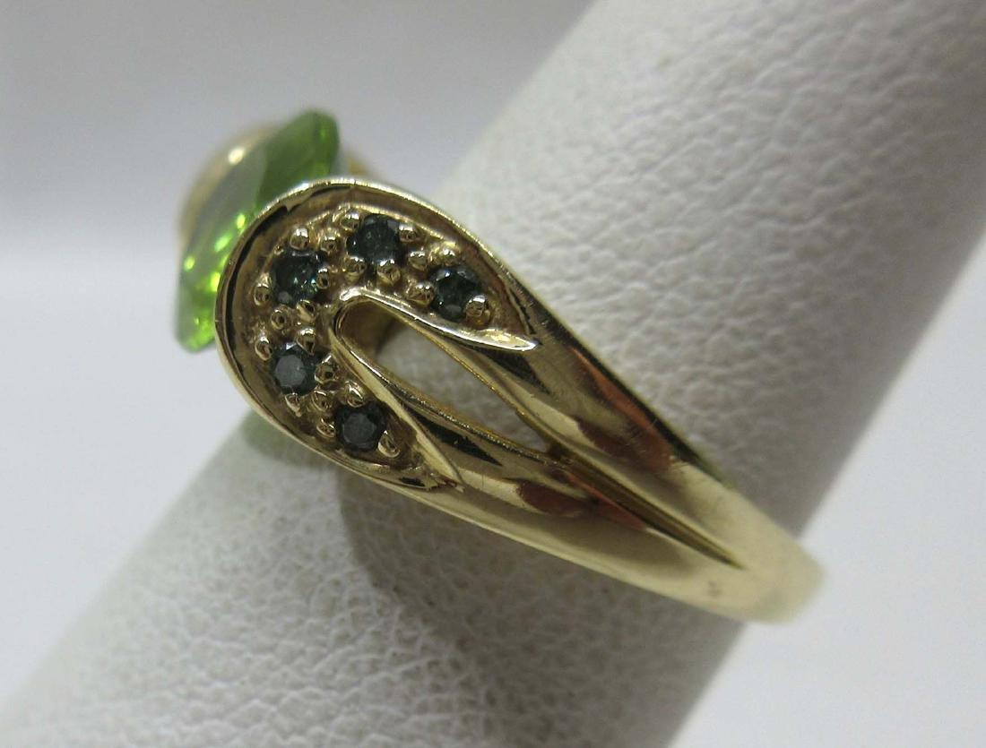 14K Gold Emerald Ring Sz 5, 3.4g - 2