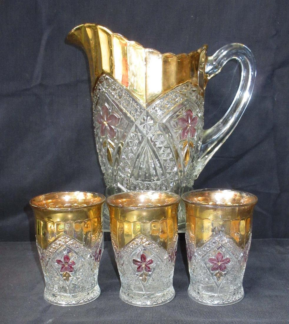 Vict. Ruby & Gold Flashed Water Set