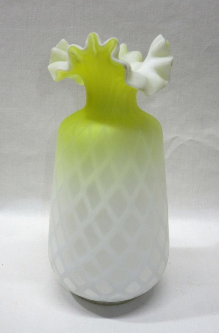 Yellow Satin MOP Glass Vase