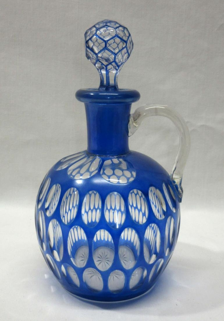 Cobalt Cut to Clear Decanter