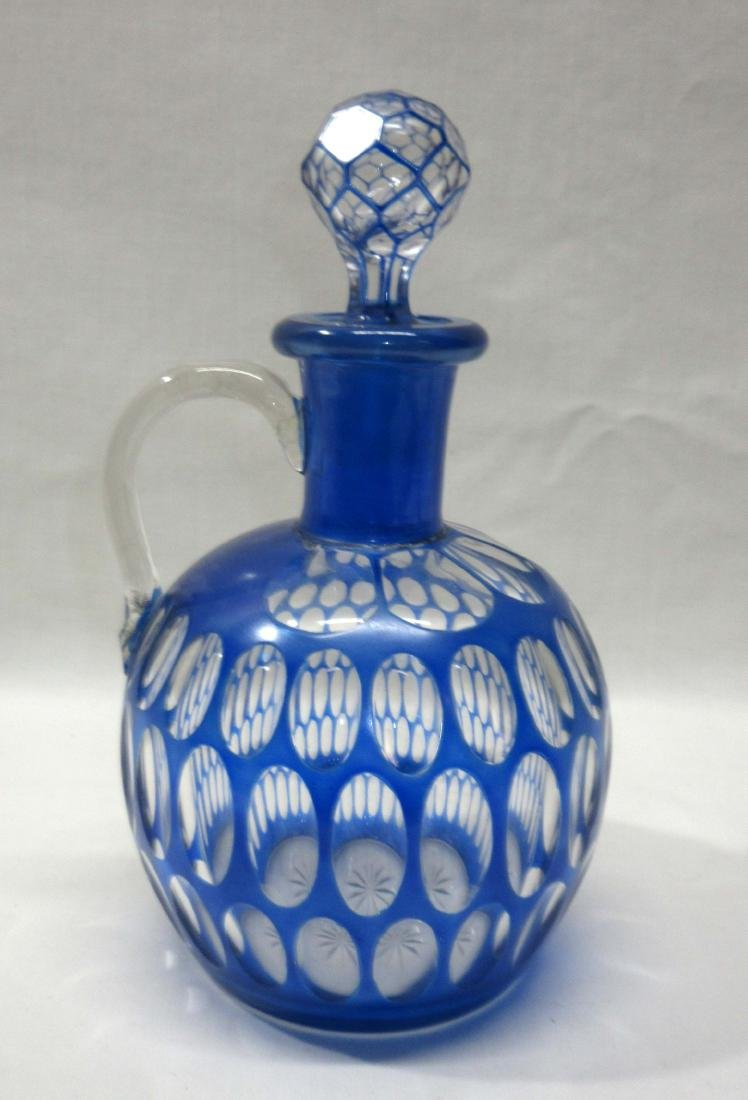 Cobalt Cut to Clear Decanter - 2