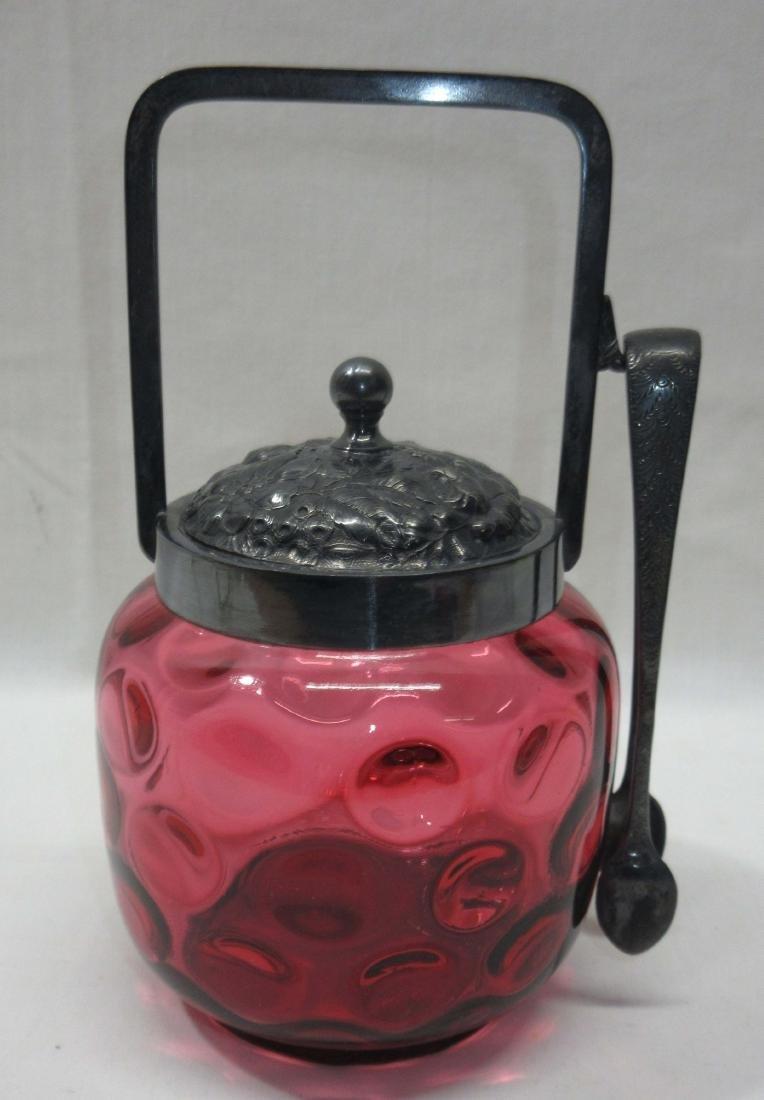 Vict. Cranberry Thumbprint Sugar Bowl & Tongs