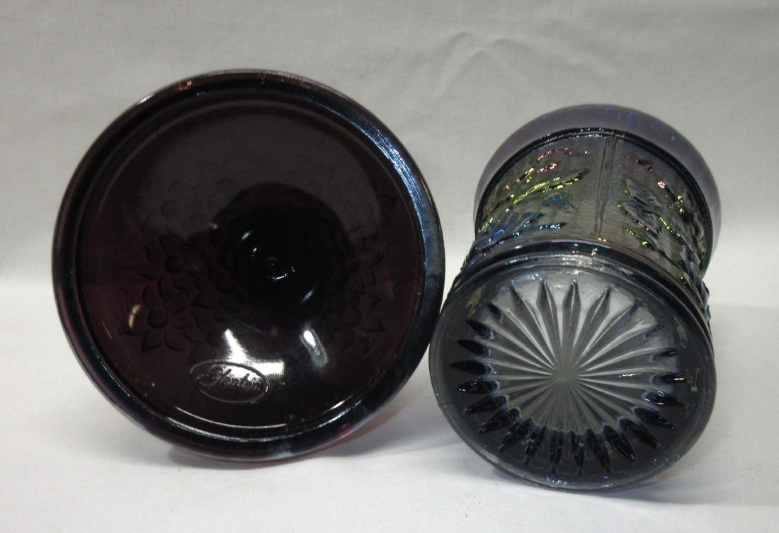 Carnival Glass Tumblers & Candlestick - 2