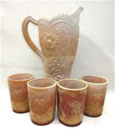 5pc Chocolate Glass Water Set