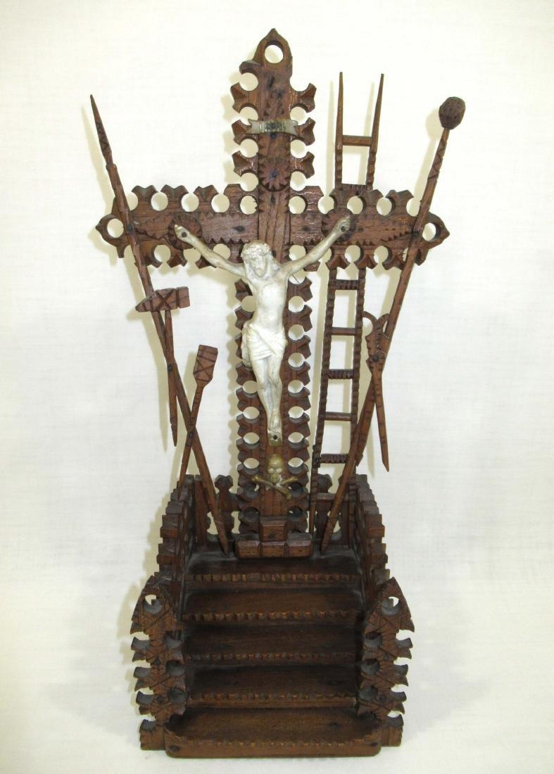 Fabulous Tramp Art Crucifix