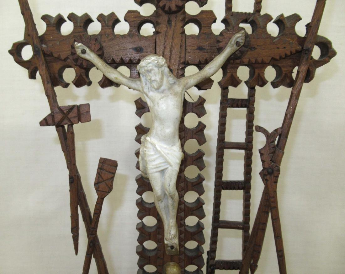 Fabulous Tramp Art Crucifix - 2