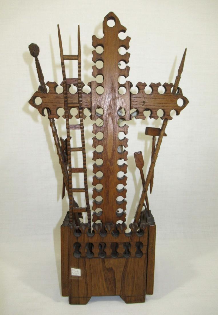 Fabulous Tramp Art Crucifix - 4