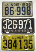 1935, 36, 37 Illinois License Plate