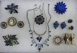 Lot Blue Rhinestone Costume Jewelry