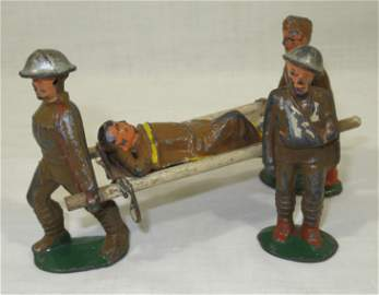 4 Barclay Lead Soldiers, Stretcher, 1 w/ arm in sling