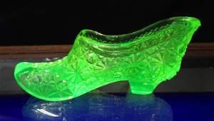 Fenton Vaseline Glass Shoe