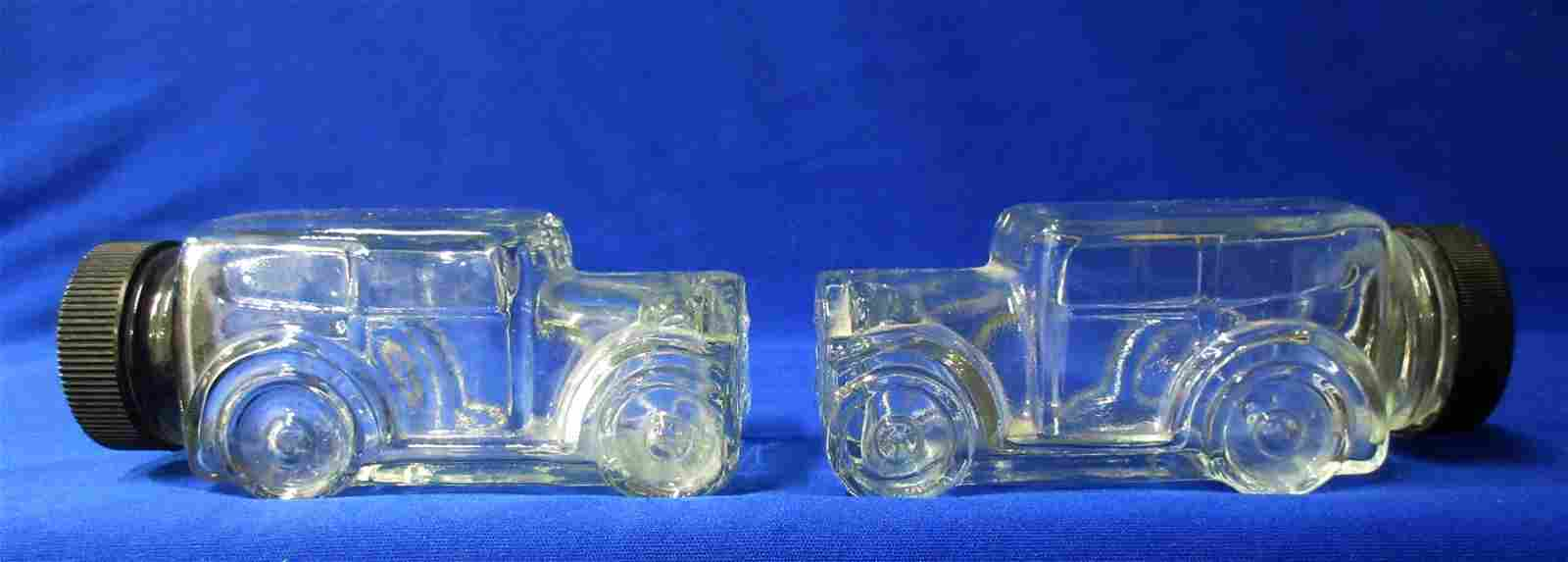 2 Glass Automobile Candy Containers