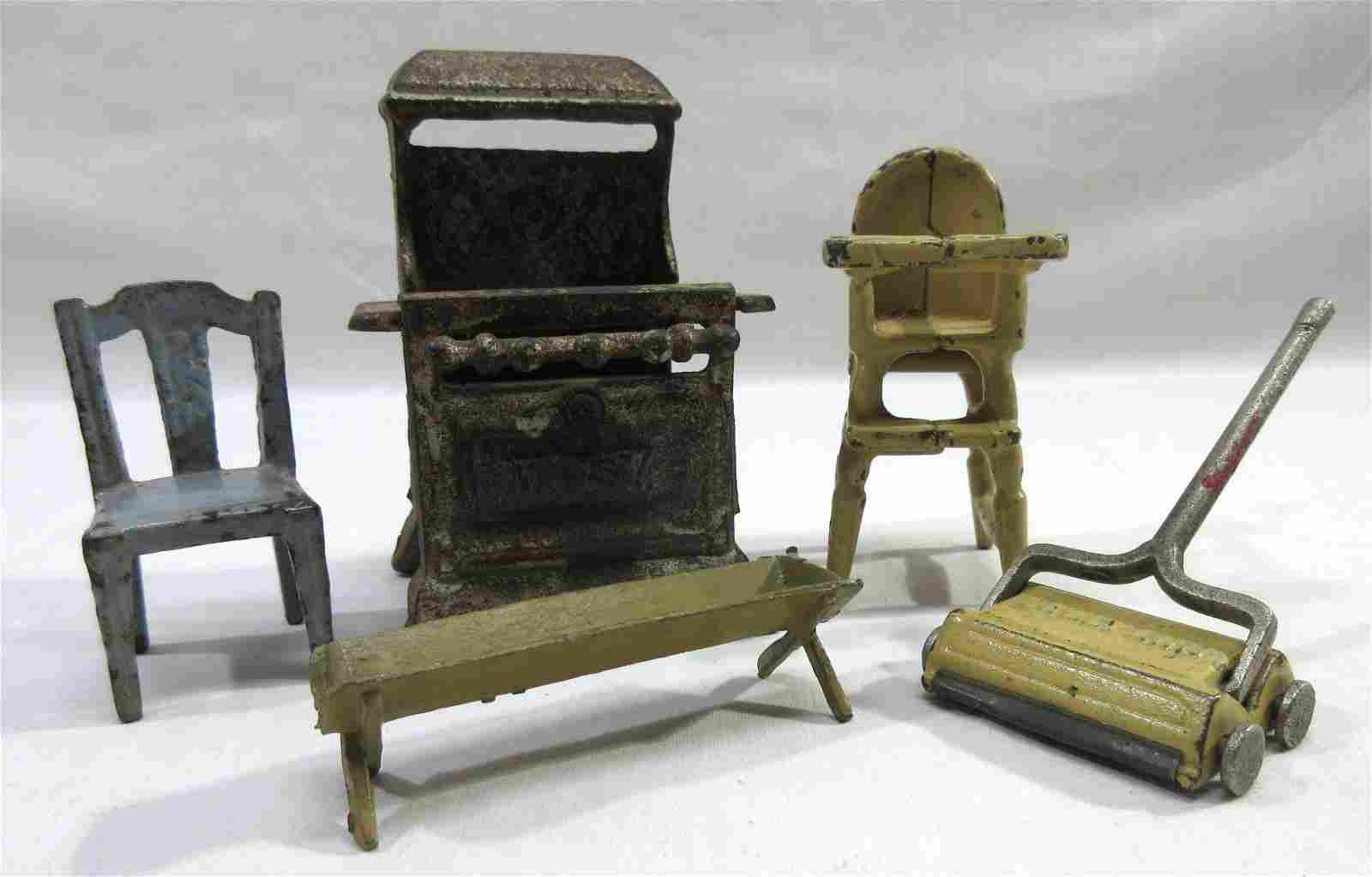 Lot of Cast Iron Doll House Furniture