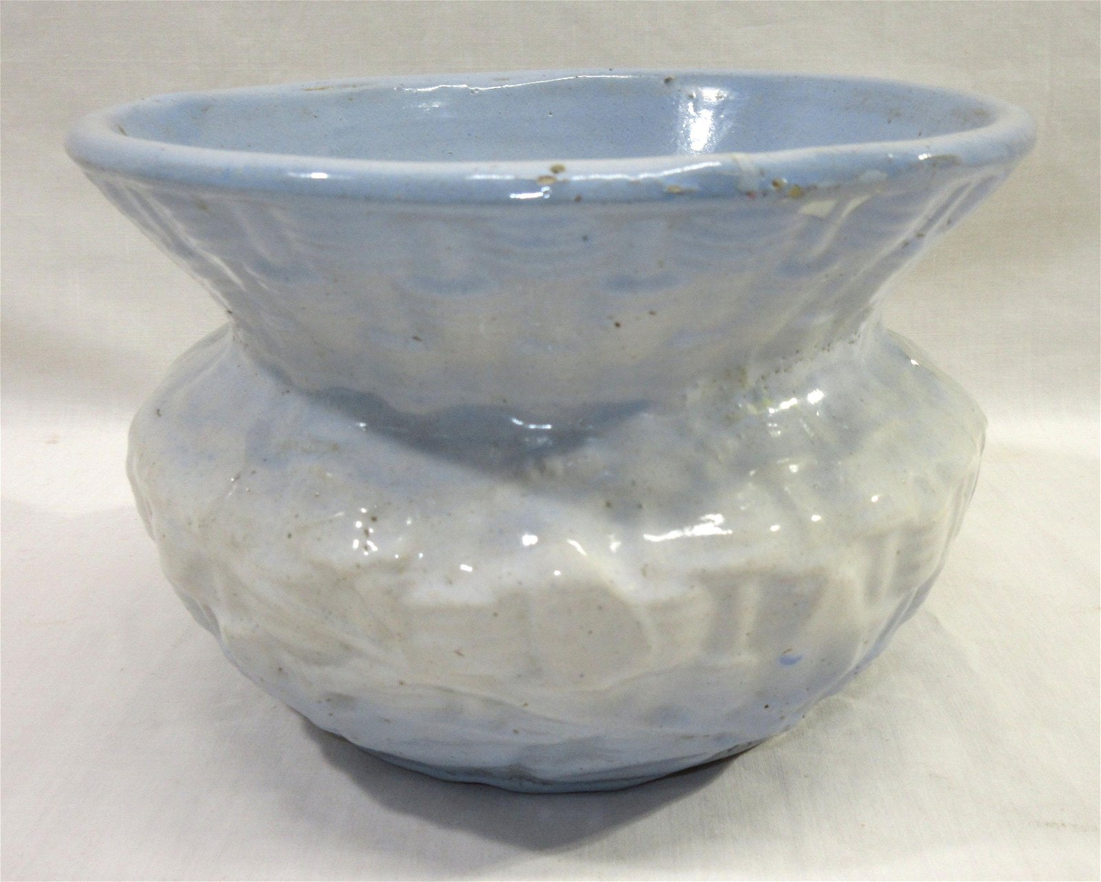 Blue & White Stoneware Spittoon