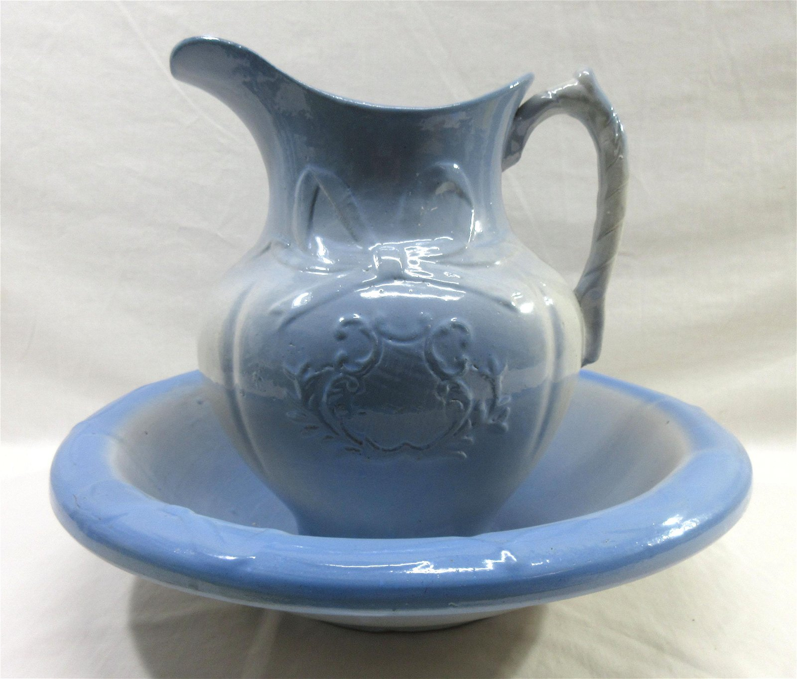 Blue & White Stoneware Wash Bowl & Pitcher