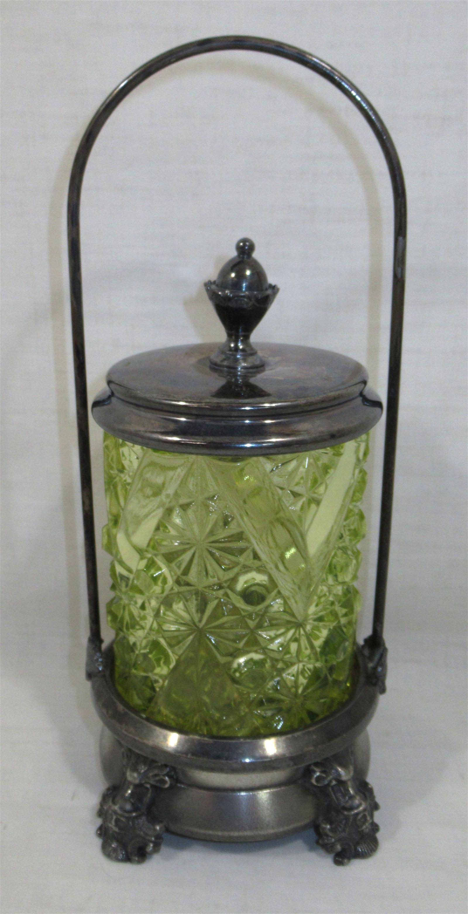 Victorian Vaseline Glass Pickle Castor