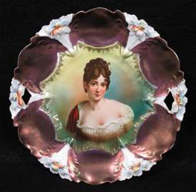 RS Prussia Recamier Portrait Cake Plate, Mold 29
