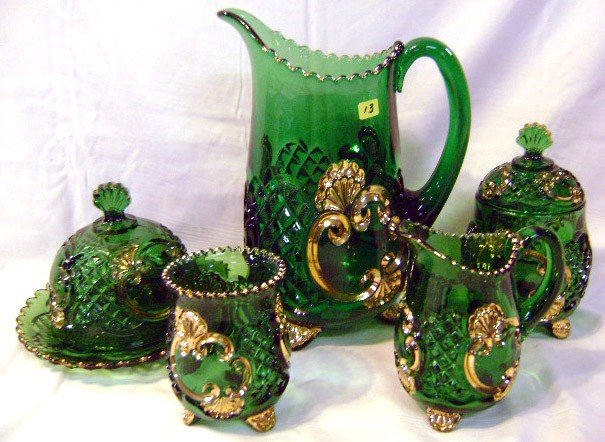 13: Victorian 5pc Green Glass Table Set, Gold Trim