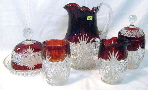 14: Victorian 5pc Ruby Flashed Table Set