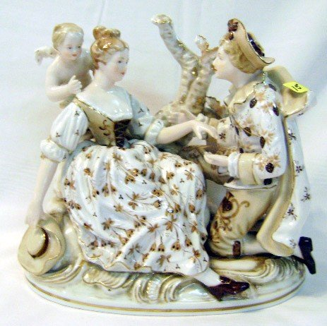 15: Hand-painted Porcelain Figural Grouping