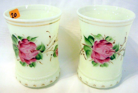 20: Pr Heisey Custard Glass Tumblers