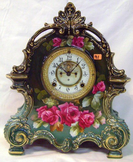 91: Ansonia Clock w/ Hand-painted Royal Bonn Case