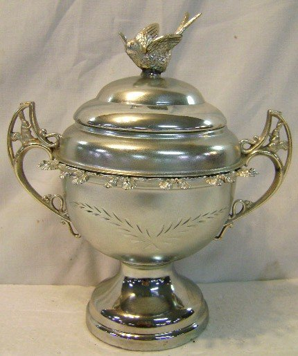 24: Silver-plate Sugar Bowl w/ Bird Finial