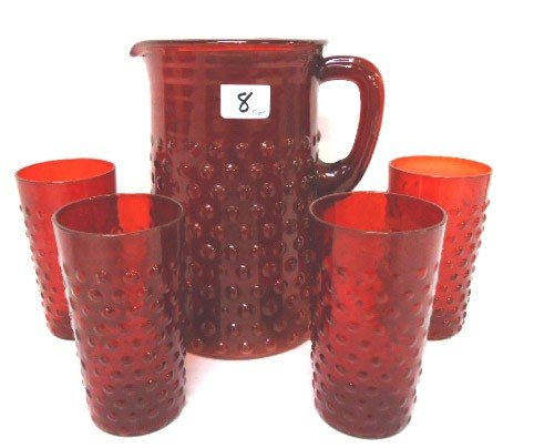 8: 5 pc. Red Bubble Glass Water Set